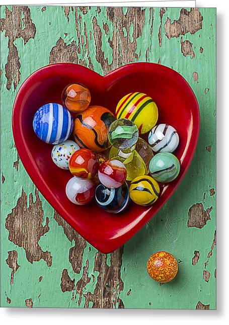 Plaything Greeting Cards - Heart Dish With Marbles Greeting Card by Garry Gay