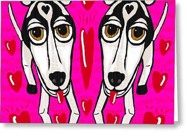 Heart Dogs Greeting Card by Leonore Shield