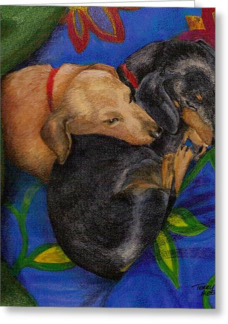 Black And Tan Dachshund Greeting Cards - Heart dogs Greeting Card by Terry Albert