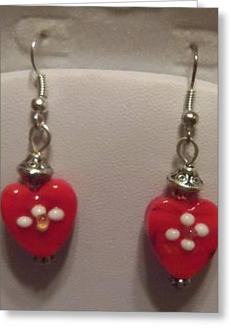Amber Jewelry Greeting Cards - Heart Earrings Greeting Card by Kimberly Johnson