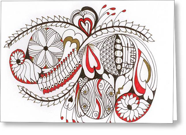 Pen And Ink Drawing Greeting Cards - Heart Expression Greeting Card by Nancy TeWinkel Lauren