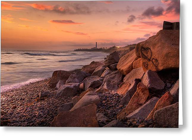 Rocky Beach Greeting Cards - Heart Face Rock Greeting Card by Peter Tellone