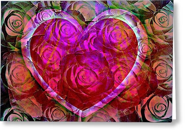 Magneta Greeting Cards - Heart Felt Roses Greeting Card by Shirley Sirois