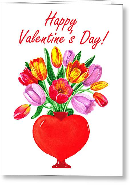 Red Letter Days Greeting Cards - Heart Full Of Tulips Valentine Bouquet  Greeting Card by Irina Sztukowski