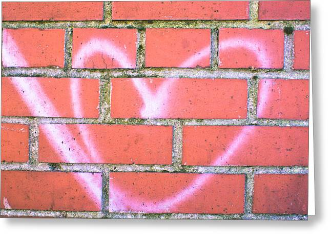 Sentimental Greeting Cards - Heart graffiti Greeting Card by Tom Gowanlock