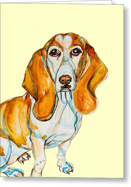 House Pet Mixed Media Greeting Cards - Heart Headed Basset Greeting Card by Kelly     ZumBerge