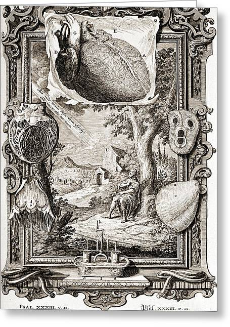 Heart Illustrated As Pumping Machine Greeting Card by Wellcome Images