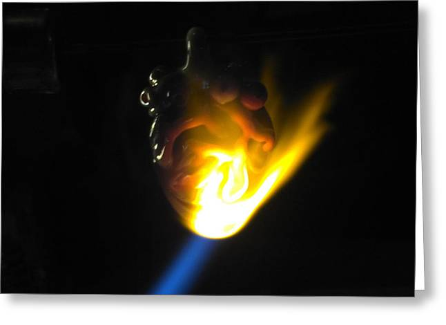 Heart Jewelry Greeting Cards - Heart in flame Greeting Card by Deenie Wallace