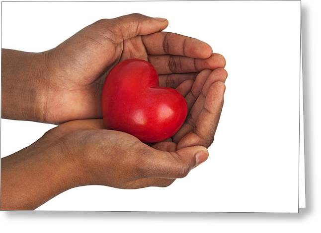 Heart In Hands Greeting Card by Chevy Fleet