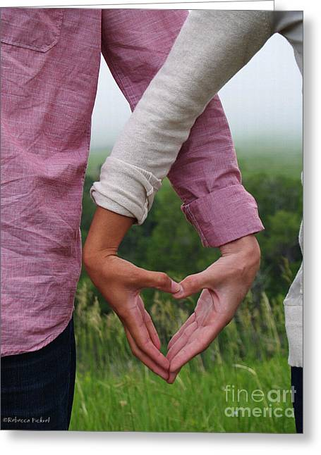 Interracial Love Greeting Cards - Heart In Hands Greeting Card by Rebecca Pickrel