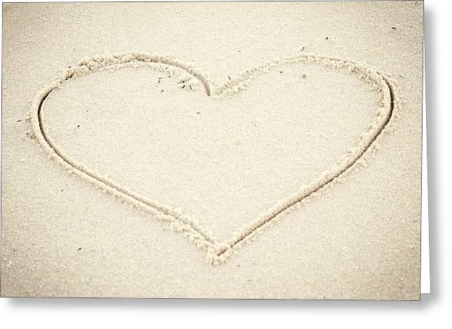 Seaside Heights Greeting Cards - Heart in Sand Seaside New Jersey Greeting Card by Terry DeLuco