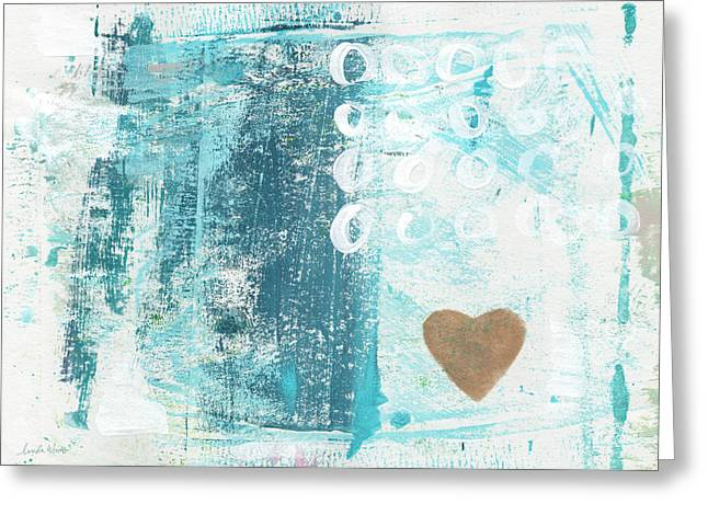Lines Mixed Media Greeting Cards - Heart in the Sand- abstract art Greeting Card by Linda Woods