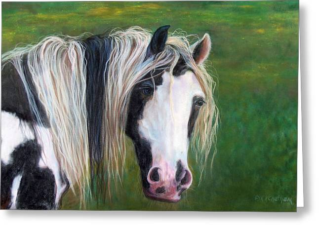Equine Pastels Pastels Greeting Cards - Heart Greeting Card by Karen Kennedy Chatham