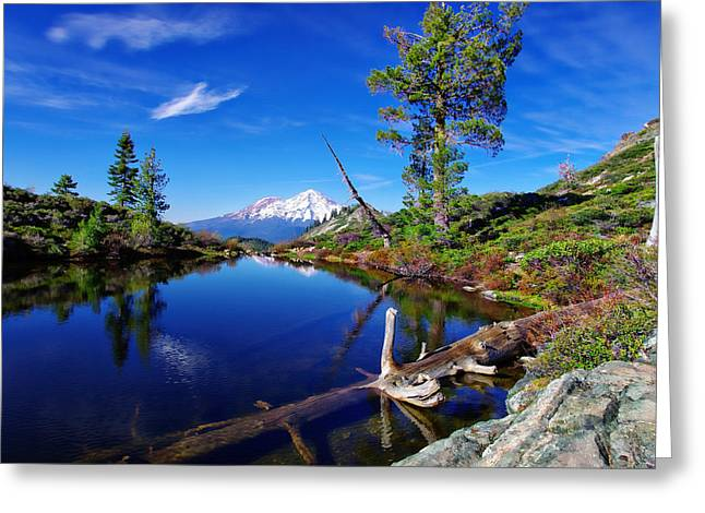 Siskiyou County Greeting Cards - Heart Lake and Mt Shasta Reflection Greeting Card by Scott McGuire