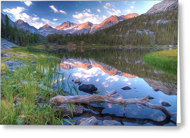 Exposure Paintings Greeting Cards - Heart Lake in eastern Sierra Nevada mountains of California Greeting Card by Lanjee Chee