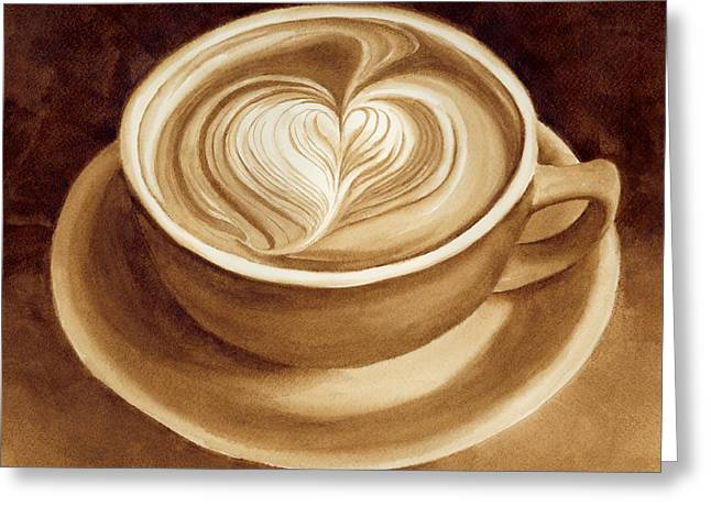 Caffe Latte Greeting Cards - Heart Latte II Greeting Card by Hailey E Herrera