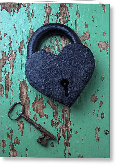 Wood Instruments Greeting Cards - Heart Lock and Key Greeting Card by Garry Gay