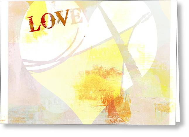 Youthful Mixed Media Greeting Cards - Heart Love Typography Collage Greeting Card by Anahi DeCanio - ArtyZen Studios