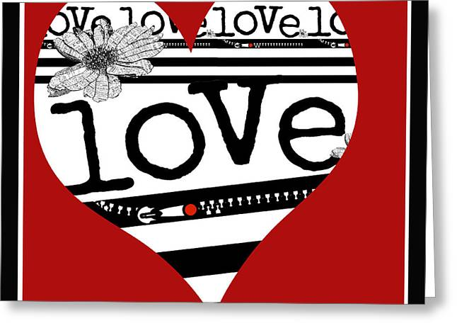 Heart Love Typography Series Greeting Card by Anahi DeCanio
