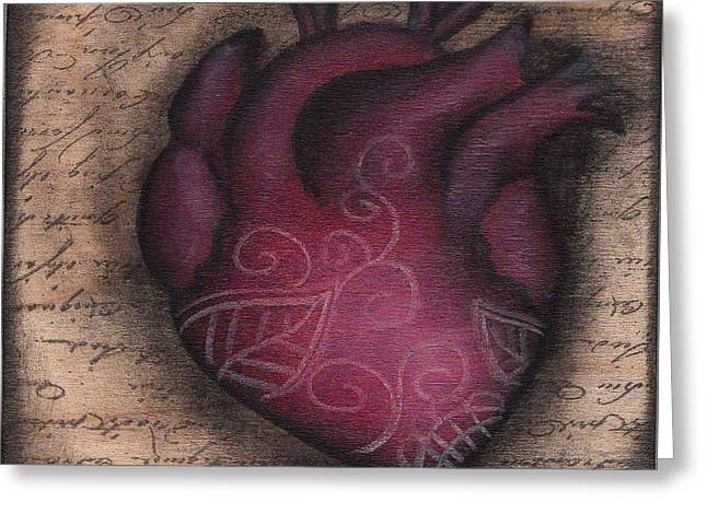 Sacred Paintings Greeting Cards - Heart Mini  Greeting Card by  Abril Andrade Griffith