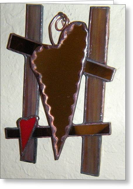 Brown Tones Glass Art Greeting Cards - Heart Mirror Greeting Card by Nora Solomon