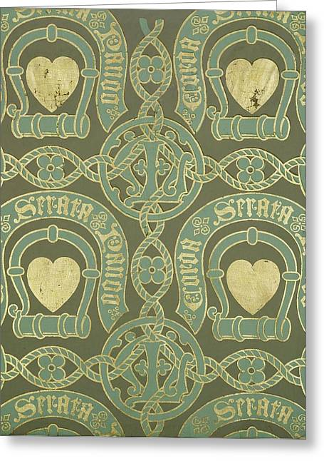 Neo Greeting Cards - Heart Motif Ecclesiastical Wallpaper Greeting Card by Augustus Welby Pugin