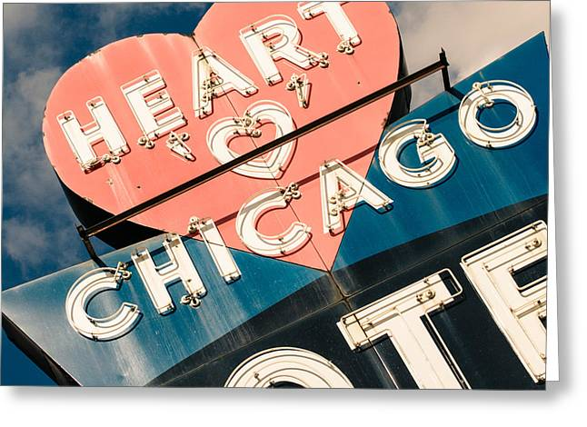 Midwestern Art Greeting Cards - Heart o Chicago Motel Greeting Card by Emily Kay