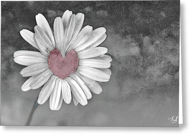 Floral Photographs Digital Greeting Cards - Heart Of A Daisy Greeting Card by Linda Sannuti