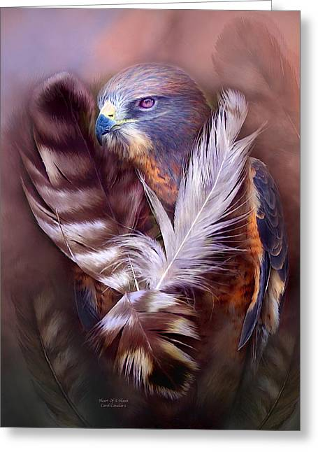 Heart Of A Hawk Greeting Card by Carol Cavalaris