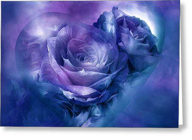 Roses Mixed Media Greeting Cards - Heart Of A Rose - Lavender Blue Greeting Card by Carol Cavalaris