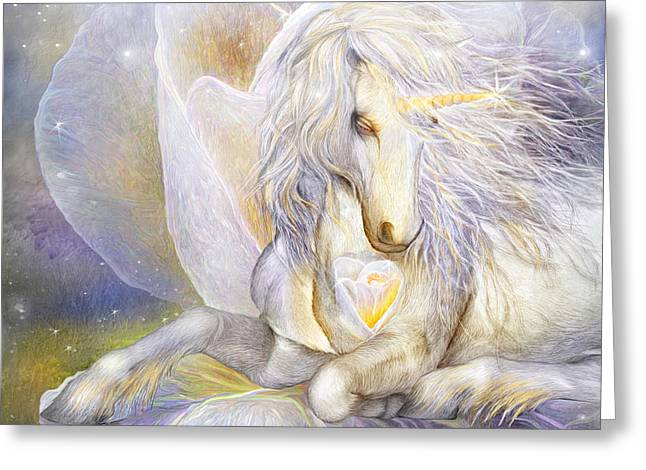 Heart Of A Unicorn Greeting Card by Carol Cavalaris