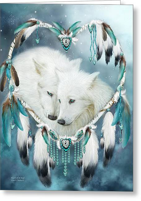 Dream Mixed Media Greeting Cards - Heart Of A Wolf Greeting Card by Carol Cavalaris