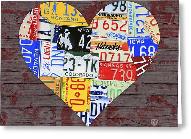 Barn Wood Greeting Cards - Heart of America USA Heartland Map License Plate Art on Red Barn Wood Greeting Card by Design Turnpike