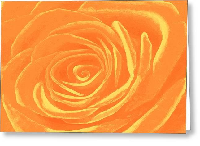 Tangerines Mixed Media Greeting Cards - Heart Of An Orange Rose Greeting Card by SophiaArt Gallery