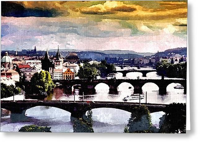 Prague Paintings Greeting Cards - Heart of Europe Greeting Card by Rachel Niedermayer