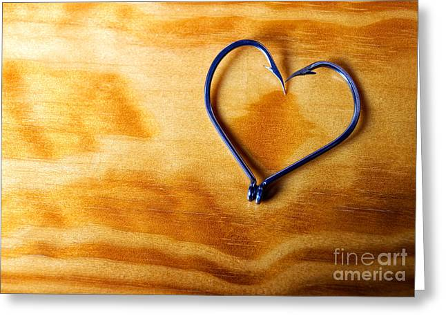 Fishhook Greeting Cards - Heart of fishermen Greeting Card by Sinisa Botas