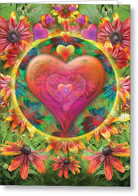 Alixandra Mullins Greeting Cards - Heart of Flowers Greeting Card by Alixandra Mullins