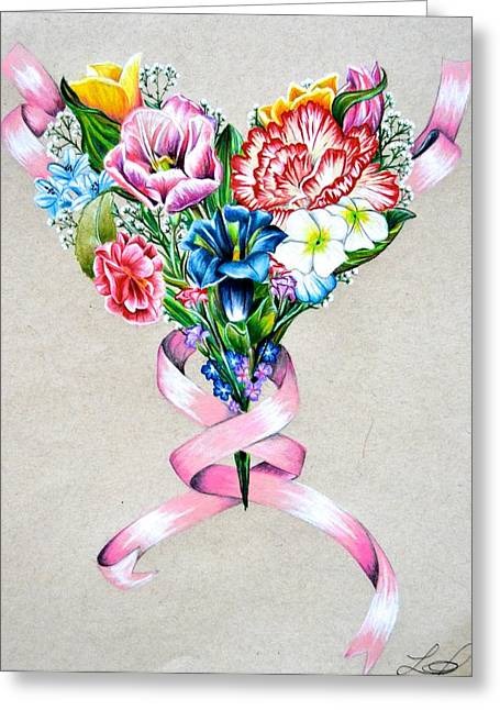 Prisma Colored Pencil Drawings Greeting Cards - Heart Of Flowers Greeting Card by Lacey OLeary