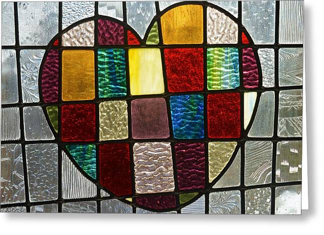 Vitrail Greeting Cards - Heart Of Glass Greeting Card by Helene Dignard