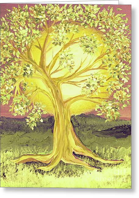 First Love Greeting Cards - Heart of Gold Tree by jrr Greeting Card by First Star Art