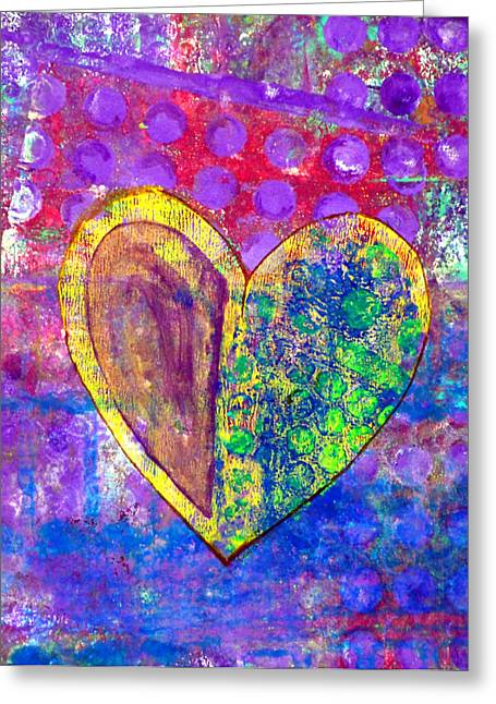Emotions Mixed Media Greeting Cards - Heart of Hearts series - Discovery Greeting Card by Moon Stumpp