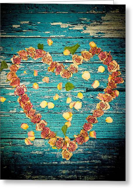 Divorce Greeting Cards - Heart of roses-1 Greeting Card by Rudy Umans