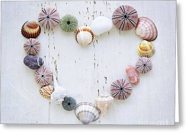 White Photographs Greeting Cards - Heart of seashells and rocks Greeting Card by Elena Elisseeva