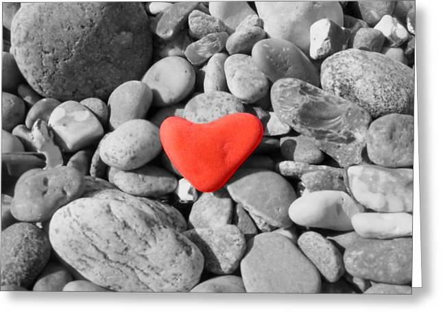 Colorkey Greeting Cards - Heart of stone Greeting Card by Heike Hultsch