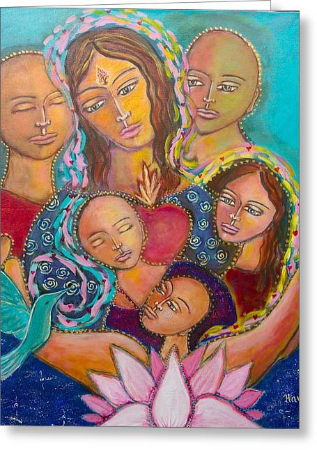 Heart Of The Family Greeting Card by Havi Mandell