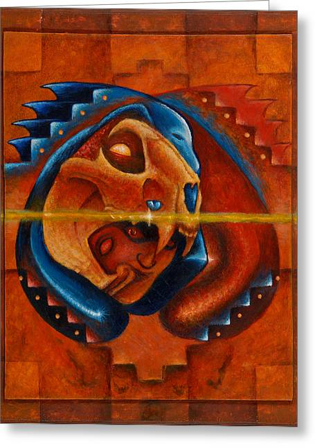Mayan Jaguar Greeting Cards - Heart of the Jaguar Priest Greeting Card by Kevin Chasing Wolf Hutchins