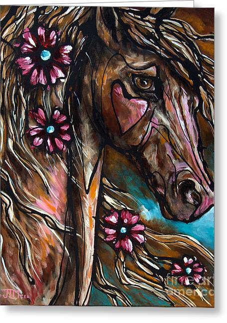 Abstract Equine Greeting Cards - Heart of the Matter Greeting Card by Jonelle T McCoy