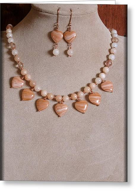 Gold Earrings Greeting Cards - Heart of the Peach Greeting Card by Jan Brieger-Scranton