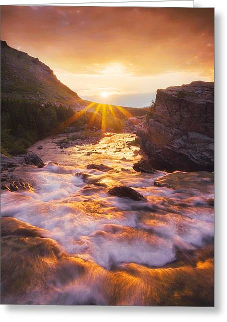 Many Glacier Greeting Cards - Heart of the Sunrise Greeting Card by Peter Coskun