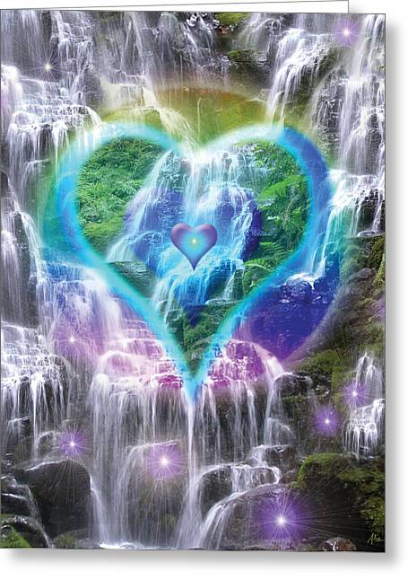 Heart Of Waterfalls Greeting Cards - Heart of Waterfalls Greeting Card by Alixandra Mullins